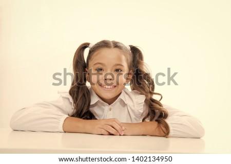 happy childhood. happy childhood of school girl isolated on white. #1402134950