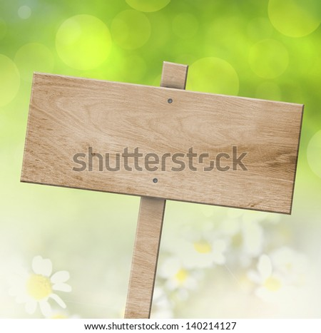 wooden sign with bokeh background