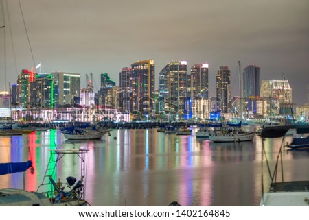 Downtown San Diego at sunset, California. View from the city port. #1402164845