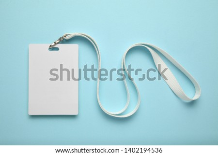 Lanyard pass badge, visitor id, business name tag. Vip conference on blue background. #1402194536
