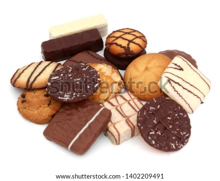 Assortment of biscuits isolated on white background Royalty-Free Stock Photo #1402209491