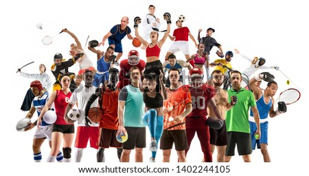 Sport collage made of different photos of 20 models. Tennis, running, badminton, soccer and american football, basketball, handball, volleyball, boxing, MMA fighter and rugby players. #1402244105
