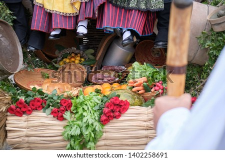 """The typical """"tracca"""" or cart pulled by oxen. Casu Marzu, wine and Sardinian sausage in the back of the """"tracca"""". #1402258691"""