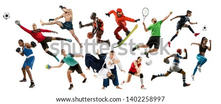 Sport collage. Tennis, running, badminton, soccer and american football, basketball, handball, volleyball, boxing, MMA fighter and rugby players. Fit women and men standing on white background #1402258997