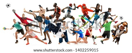 Sport collage. Tennis, running, badminton, soccer and american football, basketball, handball, volleyball, boxing, MMA fighter and rugby players. Fit women and men standing on white background #1402259015