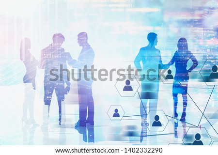 Silhouettes of business people over blurred cityscape background with double exposure of social connection interface. Hi tech and human interaction in business concept. Toned image #1402332290