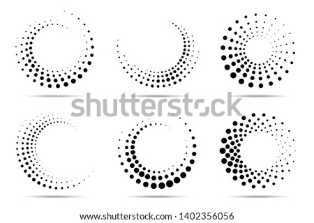 Halftone circular dotted frames set. Circle dots isolated on the white background. Logo design element for medical, treatment, cosmetic. Round border using halftone circle dots texture. Vector #1402356056