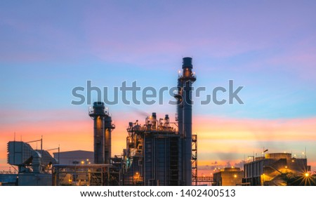 Energy power plant of industrail refinery oil and gas at twilight. -image #1402400513