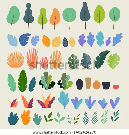 Vector set of flat illustrations of plants, trees, leaves, branches, bushes and pots. Flat cartoon vector illustration #1402424270