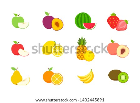 Big set of fruits and berries. Summer fruit. Fruit apple, pear, strawberry, orange, peach, plum, banana, watermelon, pineapple, kiwi, lemon. Fruits vector collection. Vector illustration. #1402445891