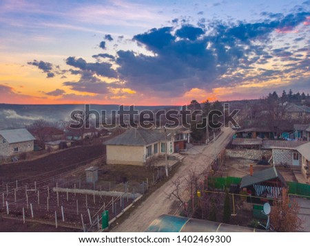 Beautiful sunset village,  Aerial view, Moldova 2019 #1402469300