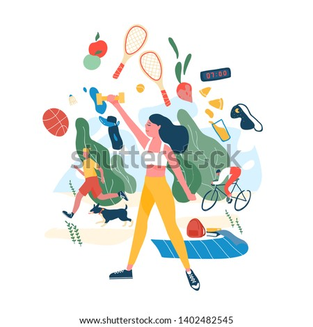 People performing sports activities or exercise and wholesome food. Concept of healthy habits, active lifestyle, fitness training, dietary nutrition, outdoor workout. Modern flat vector illustration. #1402482545