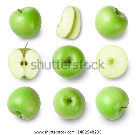 Green apples, apple half, apple slices isolated on white background. Top view. Collection. #1402548233