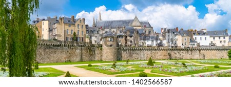 Vannes, medieval city in Brittany, view of the ramparts garden with flowerbed   #1402566587