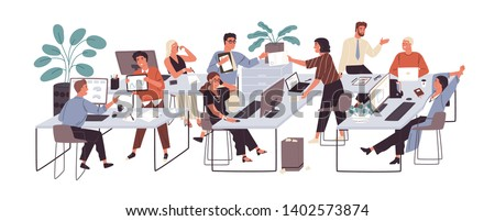 Group of office workers sitting at desks and communicating or talking to each other. Dialogs or conversations between colleagues or clerks at workplace. Flat cartoon colorful vector illustration. #1402573874