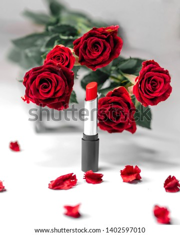 red bold vivid lipstick rose white background #1402597010