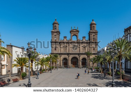 LAS PALMAS DE GRAN CANARIA, SPAIN - MARCH 10, 2019: The Cathedral of Saint Ana situated in the old district Vegueta. Copy space for text                                                  #1402604327