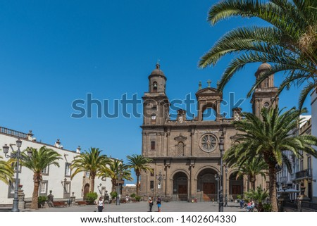 LAS PALMAS DE GRAN CANARIA, SPAIN - MARCH 10, 2019: The Cathedral of Saint Ana situated in the old district Vegueta                                         #1402604330