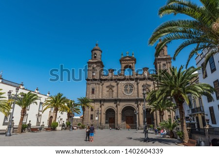 LAS PALMAS DE GRAN CANARIA, SPAIN - MARCH 10, 2019: The Cathedral of Saint Ana situated in the old district Vegueta                                             #1402604339