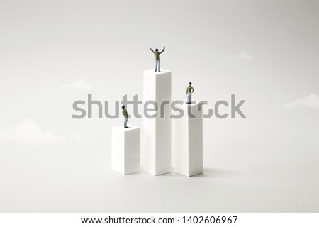 people standing on a podium, celebrating victory Royalty-Free Stock Photo #1402606967