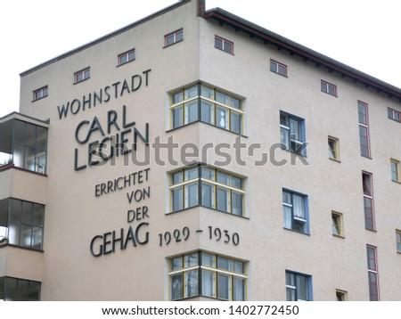 Berlin, Germany - June 5, 2018: Wohnstadt Carl Legien. The residential town of Carl Legien is a large housing estate in Berlin's Prenzlauer Berg district (Pankow district) #1402772450