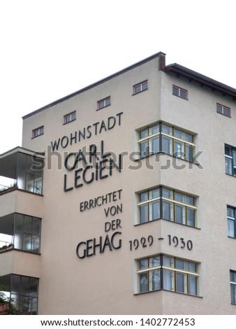 Berlin, Germany - June 5, 2018: Wohnstadt Carl Legien. The residential town of Carl Legien is a large housing estate in Berlin's Prenzlauer Berg district (Pankow district) #1402772453