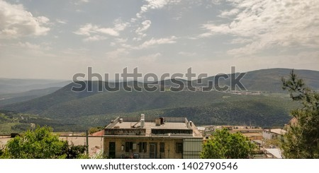 View of Mount Meron from the town of Tzfat #1402790546