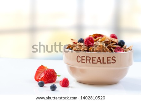 A bowl of cereal breakfast cereal and milk with berries #1402810520