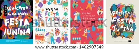 Festa Junina, Vector illustrations for poster, abstract banner, background or card for the brazilian holiday, festival, party and event, drawings of dancing cheerful people, musicians and shops #1402907549