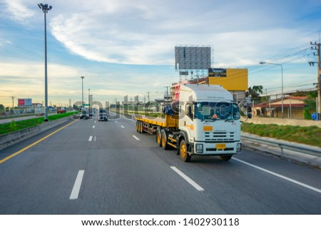 Pattaya,Thailand - MAY 2019:Many car and truck use Motorway Pattaya for tranportation from Bangkok to chonburi province. #1402930118