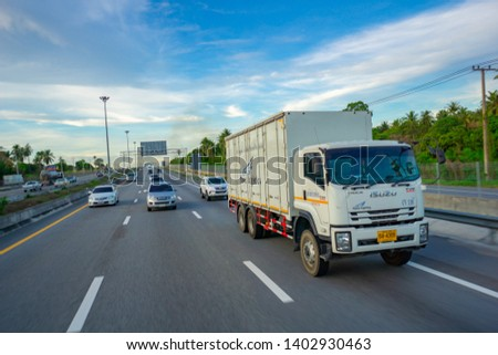 Pattaya,Thailand - MAY 2019:Many car and truck use Motorway Pattaya for tranportation from Bangkok to chonburi province. #1402930463