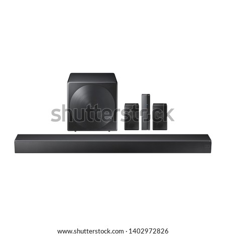 5.1-Channel Soundbar with Wireless Subwoofer Isolated. Data Surround Speakers. Acoustic Audio Sound Stereo System 5-Channel Output with Subwoofer. Loudspeakers. 460W Home Theatre Entertainment System #1402972826