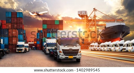 Logistics and transportation of Container Cargo ship and Cargo plane, Industrial Container Cargo freight ship for Logistic Import Export concept #1402989545