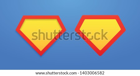 Templates of shields on a bright blue background. Layouts superman shield icon with shadow. Superhero label mockups. Bright, colorful EPS file. Vector illustration. EPS 10