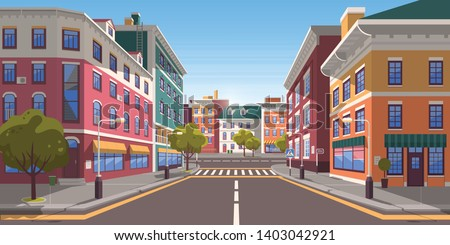 Street of town vector, city with path and roads, pedestrian crossings and zebra, trees and plants on street decorating exteriors of houses cityscape. Empty downtown road Royalty-Free Stock Photo #1403042921