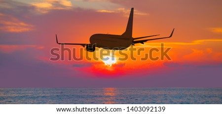 Airplane flying above tropical sea at sunset #1403092139