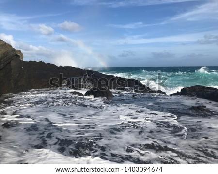 Halona Blowhole rainbow. Oahu, Hawaii #1403094674