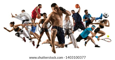 Sport collage. Tennis, soccer, taekwondo, bodybuilding, volleyball, MMA fighter and basketball players. Fit women and men standing on white background - Image #1403100377
