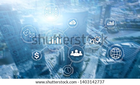 Business process automation concept on blurred background #1403142737