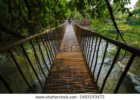 Suspention bridge in Buon Don, Buon Me Thuot, Dak Lak, Vietnam.