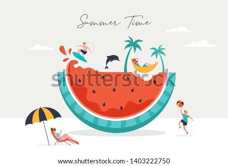 Summer scene, group of people, family and friends having fun against the huge watermelon, surfing, swimming in the pool, drinking cold beverage, playing on the beach Royalty-Free Stock Photo #1403222750