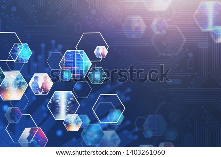Abstract background with virtual screen and business images. Concept of hi tech in business and big data. Toned image double exposure. Elements of this image furnished by NASA #1403261060