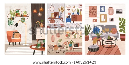 Collection of interiors with stylish comfy furniture and home decorations. Bundle of cozy living rooms or apartments furnished in trendy Scandinavian hygge style. Flat colorful vector illustration. Royalty-Free Stock Photo #1403261423