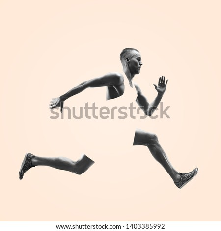 Young caucasian man running isolated on studio background. One male runner or jogger. Healthy lifestyle, movement, action, motion, advertising and sports concept. Abstract design. #1403385992