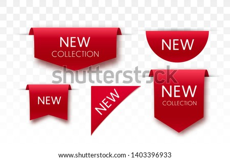 New collection tags. Vector badges and labels isolated. #1403396933