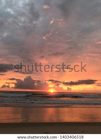 Summer beach sunrise Gold Coast Australia #1403406518