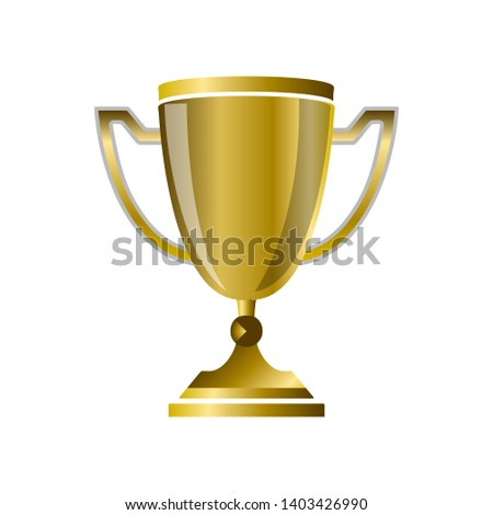 Golden Trophy reward. 3D style Vector illustration #1403426990