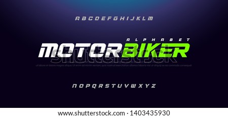 Sport Modern Italic Alphabet Font. Typography urban style fonts for technology, sport, motorcycle, racing logo design. vector illustration #1403435930
