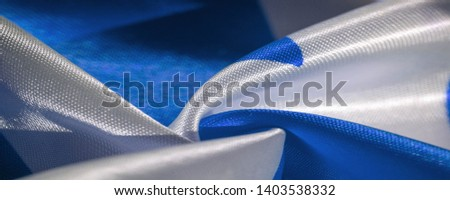 Texture, background, pattern, silk blue and white crepe breath. Labyrinth Cube Geometric Fabric with a print. #1403538332