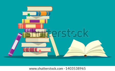 Open book with an upside down pages and pile of books. Reading, education, e-book, literature, encyclopedia. Vector illustration in flat style Royalty-Free Stock Photo #1403538965